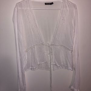 Nasty Gal White Long Sleeve Tie Front Top